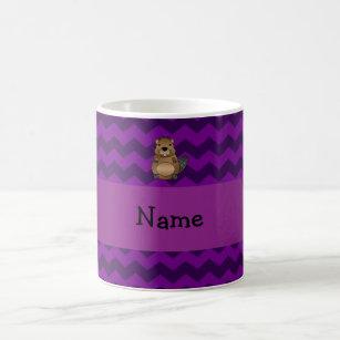 Personalised name beaver purple chevrons coffee mug