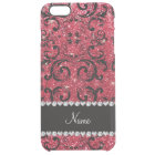 Personalised name black crimson red glitter damask clear iPhone 6 plus case