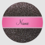 Personalised name black glitter pink stripe