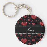 Personalised name black red glitter hearts basic round button key ring