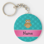 Personalised name brown owl turquoise half circles