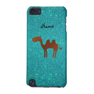 Personalised name cute camel turquoise glitter iPod touch 5G cases