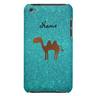Personalised name cute camel turquoise glitter iPod touch cases