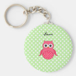 Personalised name cute pink owl key chains