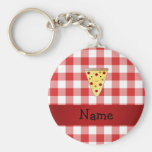 Personalised name cute pizza red chequered basic round button key ring