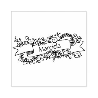 Personalised Name Floral Banner Rubber Stamp