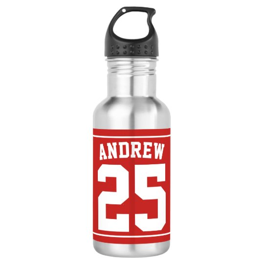 Personalised Name Football Red 532 Ml Water Bottle