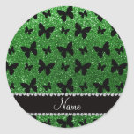 Personalised name green glitter butterflies round sticker