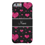 Personalised name hot pink glitter hearts barely there iPhone 6 case