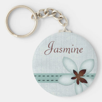 Personalised Name Keyring - Blue ribbon and flower