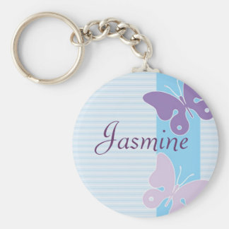 Personalised Name Keyring - Butterflies Basic Round Button Key Ring