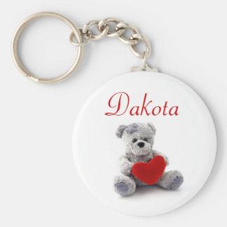 Personalised Name Keyring - Teddy Bear Basic Round Button Key Ring