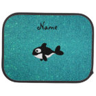 Personalised name killer whale turquoise glitter car mat