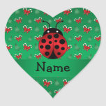 Personalised name ladybug green candy canes bows heart sticker