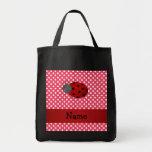 Personalised name ladybug red polka dots