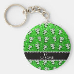 Personalised name lime green glitter pandas basic round button key ring