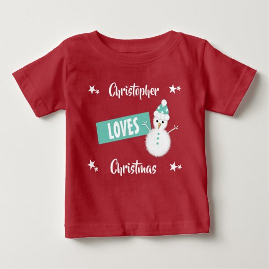 Personalised name Loves Christmas snowman Baby T-Shirt