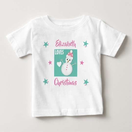Personalised name Loves Christmas snowman pink Baby T-Shirt