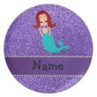 Personalised name mermaid purple glitter plate