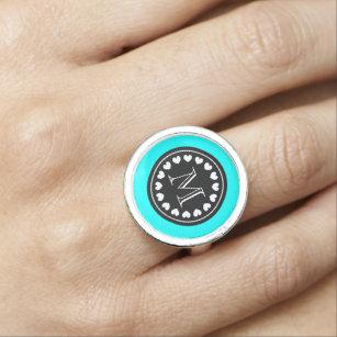 Personalised name monogram mint blue heart ring