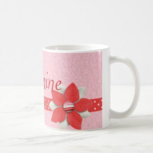 Personalised Name Mug - Red ribbon and flower