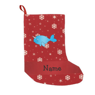personalised name narwhal red snowflakes small christmas stocking