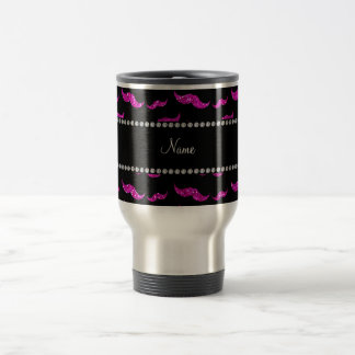 Personalised name neon pink glitter moustaches stainless steel travel mug