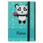 Personalised name panda cupcake turquoise hearts iPad mini case