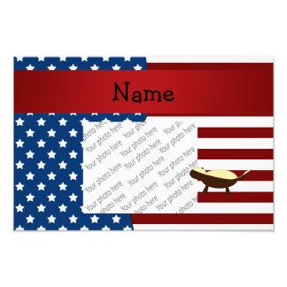 Personalised name Patriotic honey badger Art Photo