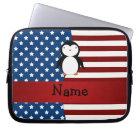 Personalised name Patriotic penguin Laptop Sleeve
