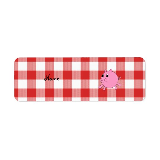 Personalised name pig red gingham pattern return address label