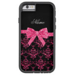 Personalised name pink glitter damask pink bow tough xtreme iPhone 6 case