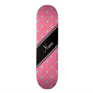 Personalised name pink heart diamonds 21.3 cm mini skateboard deck
