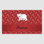 Personalised name polar bear candy cane pattern rectangular stickers
