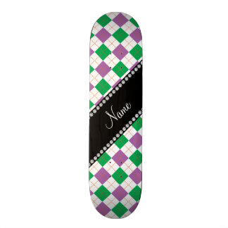 Personalised name Purple and green argyle Skate Boards