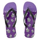 Personalised name purple baby penguins thongs