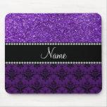 Personalised name purple glitter damask mousepad