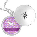 Personalised name rainbow unicorn purple rainbows lockets