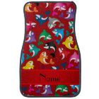 Personalised name red rainbow killer whales car mat