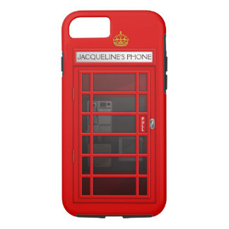 Personalised Name Red Telephone Box iPhone 7 case