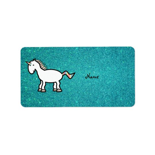 Personalised name retro unicorn turquoise glitter address label