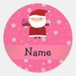 Personalised name santa cupcake pink snowflakes round sticker