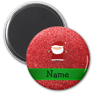 Personalised name santa red glitter 6 cm round magnet