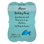 Personalised name shark turquoise glitter invite