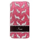 Personalised name silver wolf fuchsia pink glitter incipio watson™ iPhone 6 wallet case