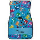 Personalised name sky blue rainbow killer whales car mat