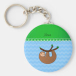 Personalised name sloth pastel blue chevrons basic round button key ring