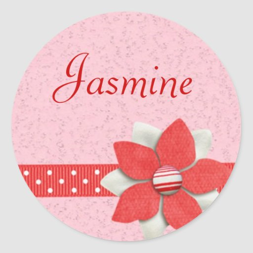 Personalised Name Sticker - Red ribbon and flower