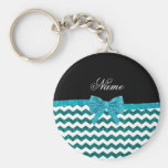 Personalised name turquoise glitter chevrons bow basic round button key ring