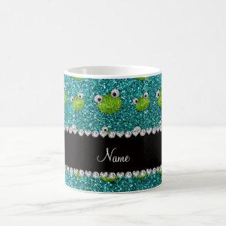 Personalised name turquoise glitter frogs basic white mug